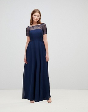 photo Lace Insert Panelled Maxi Dress by ASOS, color Navy - Image 1