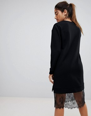 photo Midi Sweat Dress with Lace Hem by ASOS, color Black - Image 2