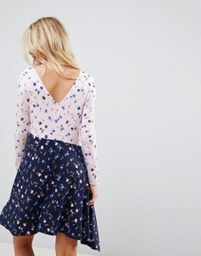 photo Mixed Print Tea Dress with V-Back by ASOS DESIGN, color Floral Print - Image 2