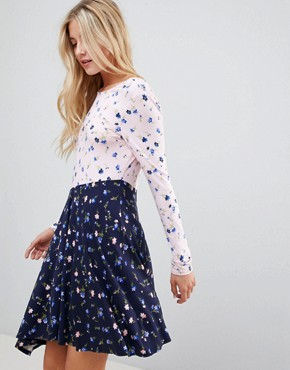 photo Mixed Print Tea Dress with V-Back by ASOS DESIGN, color Floral Print - Image 1