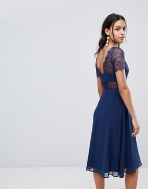 photo Lace Insert Panelled Midi Dress by ASOS, color Navy - Image 2