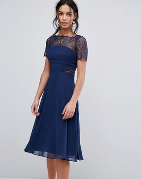 photo Lace Insert Panelled Midi Dress by ASOS, color Navy - Image 1