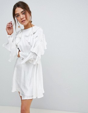 photo Jacquard Mini Dress with Ruffle Sleeves and Cut Out Back by ASOS DESIGN, color White - Image 1