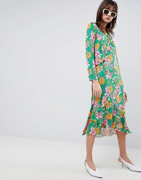 photo Relaxed Tea Dress in Bold Floral Print by ASOS DESIGN, color Floral Print - Image 1