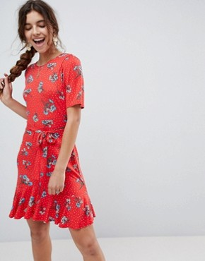 photo Tea Dress with V-Back and Frill Hem in Red Floral Print by ASOS, color Floral Print - Image 1
