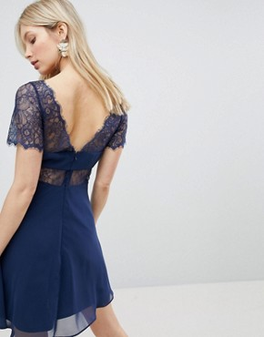 photo Lace Insert Panelled Mini Dress by ASOS, color Navy - Image 2
