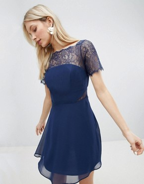 photo Lace Insert Panelled Mini Dress by ASOS, color Navy - Image 1