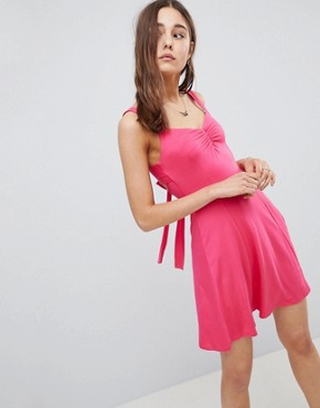 photo Mini Swing Sundress with Tie Back by ASOS DESIGN, color Pink - Image 1