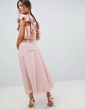 photo Pleated Midi Dress with Ruffle Sleeve by ASOS DESIGN, color Pink - Image 2