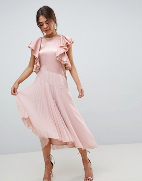 photo Pleated Midi Dress with Ruffle Sleeve by ASOS DESIGN, color Pink - Image 1