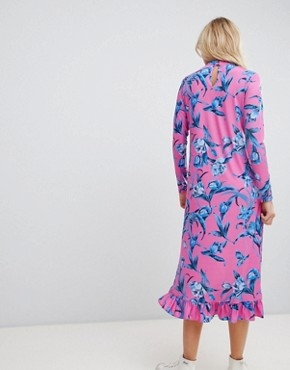 photo Slinky Midi Dress with Choker Neck and Frill Details in Floral Print by ASOS DESIGN, color Floral Print - Image 2