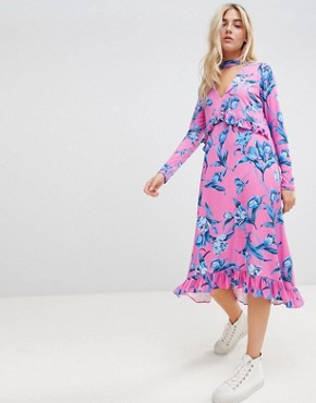 photo Slinky Midi Dress with Choker Neck and Frill Details in Floral Print by ASOS DESIGN, color Floral Print - Image 1