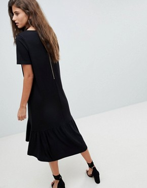 photo Midi T-Shirt Dress with Drop Hem by ASOS, color Black - Image 2