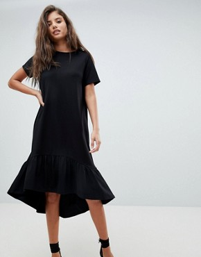 photo Midi T-Shirt Dress with Drop Hem by ASOS, color Black - Image 1