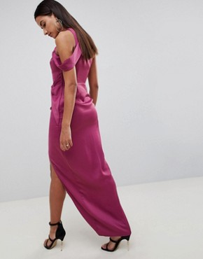 photo Satin Wrap Front Twist Maxi Dress by ASOS DESIGN, color Magenta - Image 2