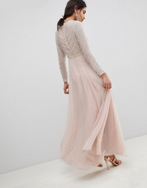 photo Pearl Embellished Long Sleeve Maxi Dress by ASOS DESIGN Premium, color Nude - Image 2