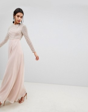 photo Pearl Embellished Long Sleeve Maxi Dress by ASOS DESIGN Premium, color Nude - Image 1