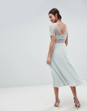 photo Lace Insert Midi Dress with Floral Embellished Trim by ASOS, color Mint - Image 2