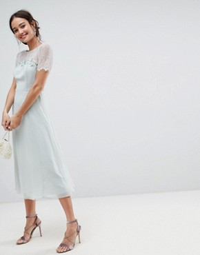 photo Lace Insert Midi Dress with Floral Embellished Trim by ASOS, color Mint - Image 1