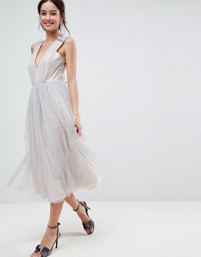 photo Tonal Tulle Midi Dress with Embellished Cami Straps by ASOS, color Soft Grey - Image 2