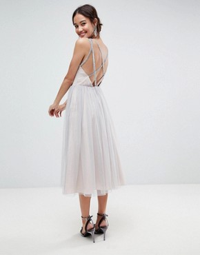 photo Tonal Tulle Midi Dress with Embellished Cami Straps by ASOS, color Soft Grey - Image 1