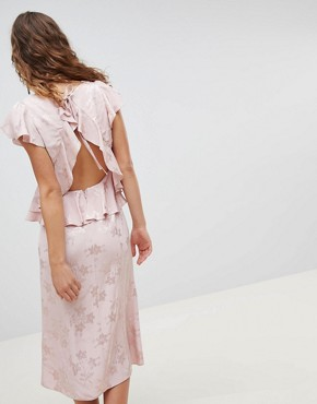 photo Soft Floral Jacquard Midi Tea Dress with Ruffle Hem by ASOS DESIGN, color Pink - Image 2