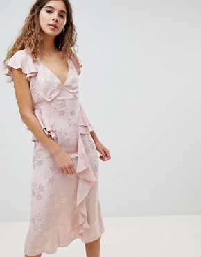 photo Soft Floral Jacquard Midi Tea Dress with Ruffle Hem by ASOS DESIGN, color Pink - Image 1