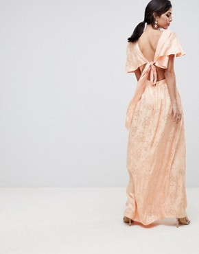 photo Soft Jacquard Maxi Dress with Flutter Sleeve by ASOS DESIGN, color Apricot - Image 2