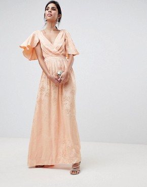 photo Soft Jacquard Maxi Dress with Flutter Sleeve by ASOS DESIGN, color Apricot - Image 1
