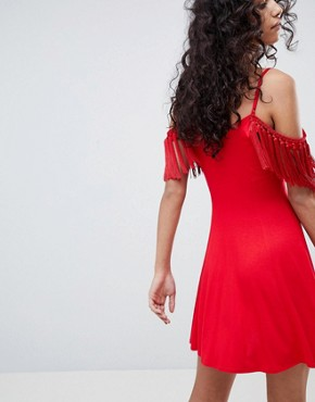 photo Mini Sundress with Cold Shoulder and Tassel Detail by ASOS DESIGN, color Red - Image 2