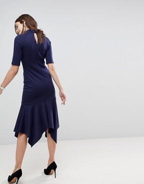 photo Midi Dress with Pephem and Collar by ASOS DESIGN, color Navy - Image 2