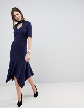 photo Midi Dress with Pephem and Collar by ASOS DESIGN, color Navy - Image 1