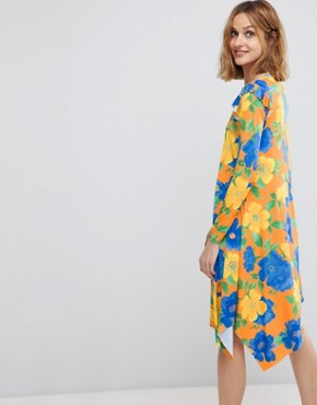 photo Mini Dress with Asymmetric Hem in Bright Floral by ASOS, color Floral Print - Image 2