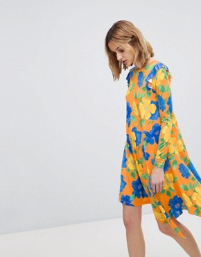 photo Mini Dress with Asymmetric Hem in Bright Floral by ASOS, color Floral Print - Image 1