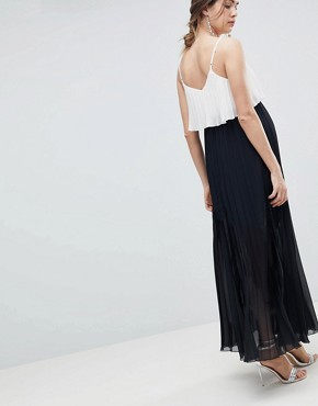 photo Maternity Crop Top Maxi Dress in Pleated Colourblock by ASOS DESIGN, color Mono - Image 2
