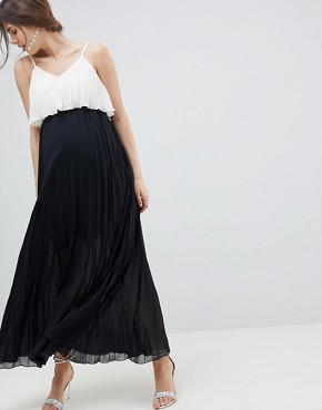 photo Maternity Crop Top Maxi Dress in Pleated Colourblock by ASOS DESIGN, color Mono - Image 1