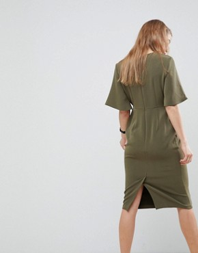 photo Midi Wrap Dress with Tie Detail by ASOS, color Khaki - Image 2
