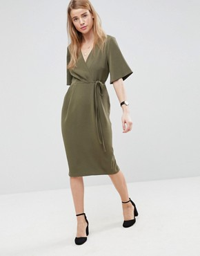 photo Midi Wrap Dress with Tie Detail by ASOS, color Khaki - Image 1