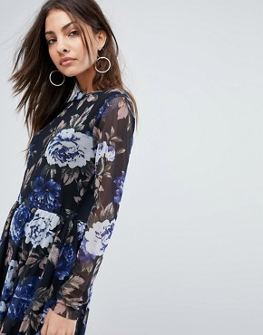 photo Floral Mesh Skater Dress by Y.A.S, color Multi - Image 3