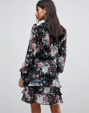 photo High Neck Bold Floral Dress by Y.A.S, color Multi - Image 2