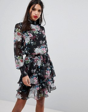 photo High Neck Bold Floral Dress by Y.A.S, color Multi - Image 1