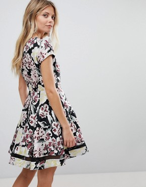 photo Floral Jacquard Skater Dress by French Connection, color Black Multi - Image 2