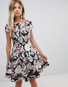 photo Floral Jacquard Skater Dress by French Connection, color Black Multi - Image 1