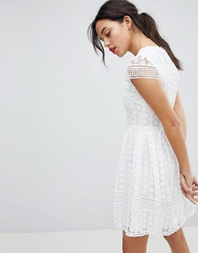 photo Lace Fit and Flare Dress by French Connection, color Summer White - Image 2