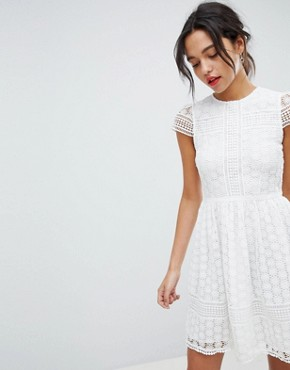 photo Lace Fit and Flare Dress by French Connection, color Summer White - Image 1