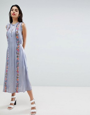 photo Floral Embroidered Stripe Shirt Dress by French Connection, color Smoulder - Image 4