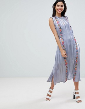photo Floral Embroidered Stripe Shirt Dress by French Connection, color Smoulder - Image 1