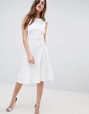 photo Knitted Fit and Flare Dress by French Connection, color White - Image 1