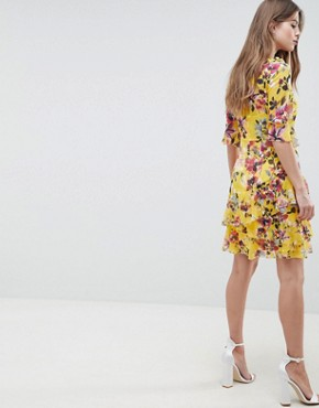 photo Floral Ruffle Dress by French Connection, color Citrus - Image 2
