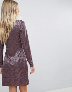 photo Jacquard Detail Wrap Dress by French Connection, color Tyrian Rose - Image 2